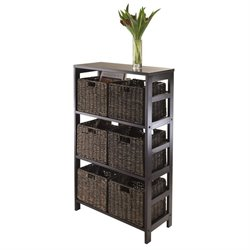 7Pc Storage Shelf with 6 Baskets in Espresso