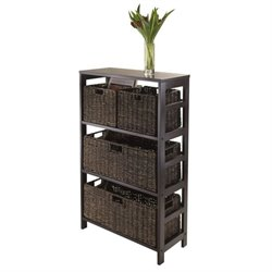 Winsome Granville 5Pc Storage Shelf with Two Size Baskets in Espresso