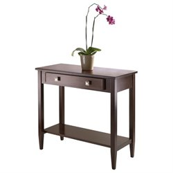 Tapered Leg Console Hall Table in Antique Walnut
