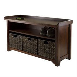 Winsome Granville Storage Bench with 3 Baskets in Walnut and Chocolate
