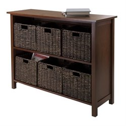 Winsome Granville 7Pc Storage Shelf with 6 Baskets in Walnut