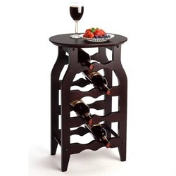8 Bottle Oval Top Wine Rack in Dark Espresso