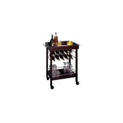 Ten Bottle Wine Cart with Mirror Top in Espresso