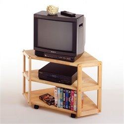 Basics Solid Wood Corner TV Stand in Beech