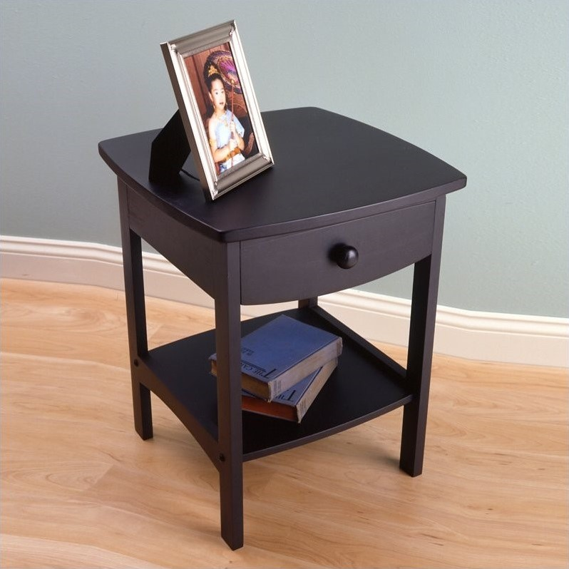 Winsome Basics Solid Wood End Table / Nightstand in Black