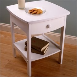 Solid Composite Wood End Table in White
