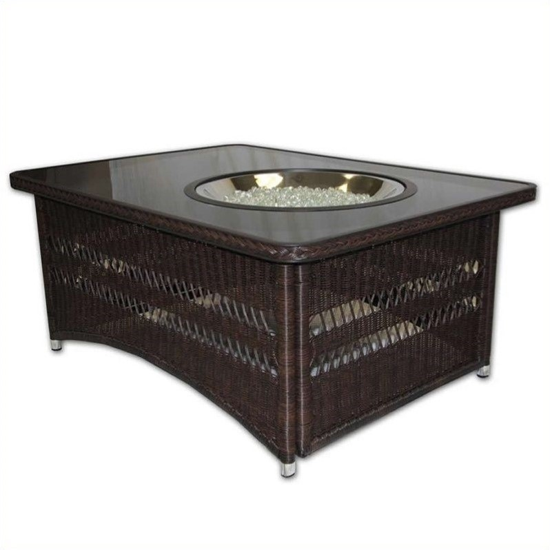 Outdoor GreatRoom Company Naples Coffee Table with Natural Gas Firepit