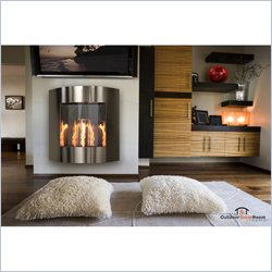 Outdoor GreatRoom Company Inspiration Wall Hanging Gel Fireplace in Stainless Steel