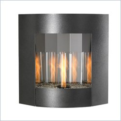 Outdoor Greatroom Company Inspiration Wall Hanging Gel Fireplace in Black and Silver Vein