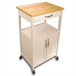 Catskill Craftsmen Butcher Block Kitchen Cart - White