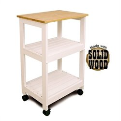 Catskill Microwave/Utility Butcher Block Kitchen Cart in White