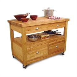 Catskill Craftsmen Grand Americana Butcher Block Island Workcenter in Natural Finish