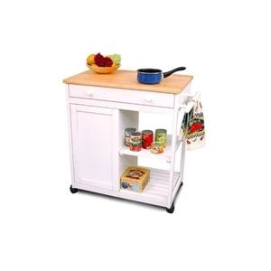 Catskill Preston Hollow White Kitchen Cart with Butcher Block