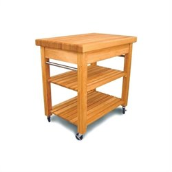 Catskill Craftsmen French Country Small Butcher Block Kitchen Cart in Natural Finish