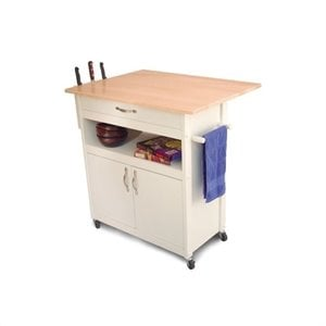 Catskill Craftsmen Butcher Block Kitchen Cart in White