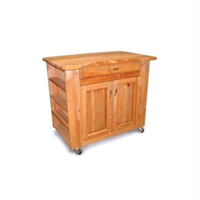 Catskill Deep Storage Large Butcher Block Kitchen Cart in Natural