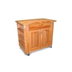 Catskill Craftsmen Deep Storage Large Butcher Block Kitchen Cart in Natural Finish