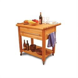 Catskill Craftsmen Grand Island Butcher Block Workcenter with Drop Leaf in Natural Finish