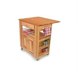 Catskill Craftsmen Heart of the Kitchen Butcher Block Cart with Drop Leaf in Natural Finish