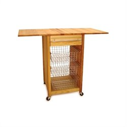 Catskill Basket Butcher Block Kitchen Cart in Natural