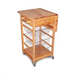 Catskill Birch Hardwood Cuisine Butcher Block Kitchen Cart in Natural