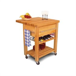 Catskill Craftsmen Baby Grand Butcher Block Workcenter with Wine Rack in Natural