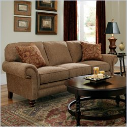 Broyhill Larissa Brown Three Seat Sofa with Cherry Wood Finish