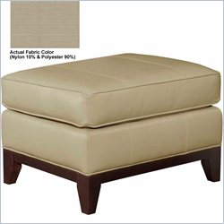 Broyhill Perspectives Beige Ottoman with Cognac Wood Finish