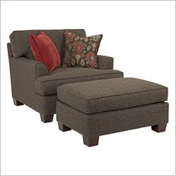 Broyhill Westport Dark Greyish Brown Chair And Ottoman with Walnut Wood Finish