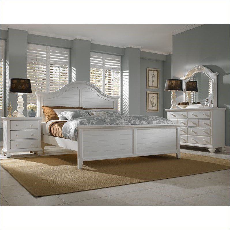 Broyhill Mirren Harbor Arched Panel Bed 4 Piece Bedroom Set in White