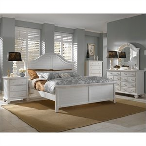 Broyhill Mirren Harbor Arched Panel Bed 5 Piece Bedroom Set in White