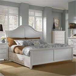 Broyhill Mirren Harbor Arched Panel Storage Bed in White - Queen