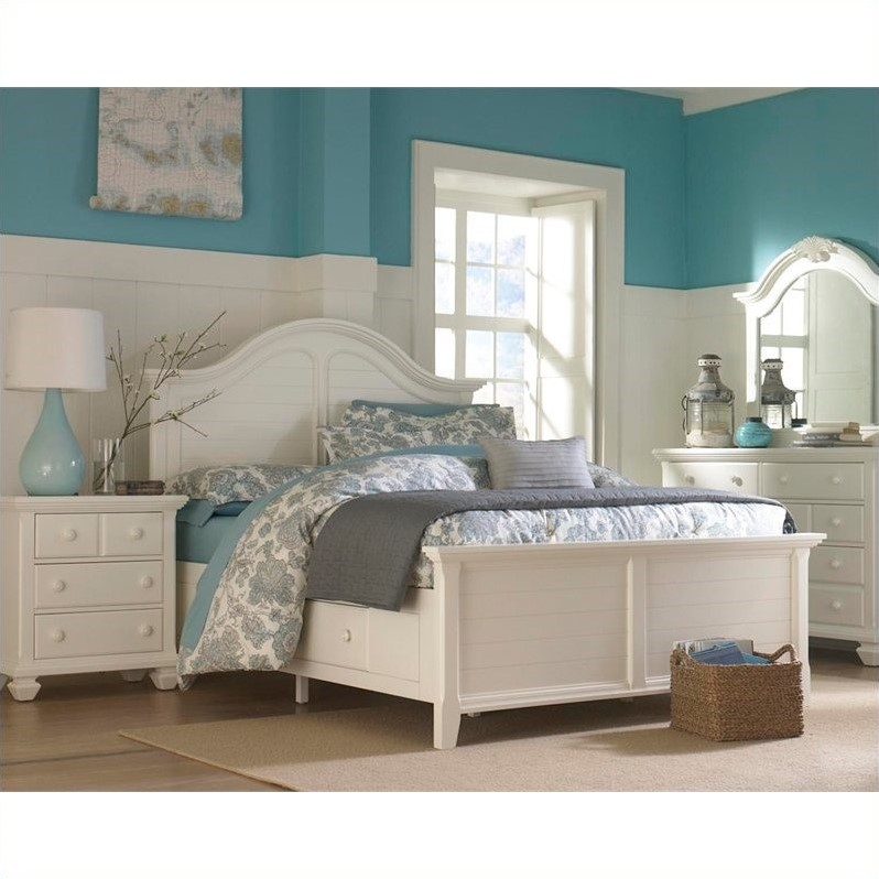 Broyhill mirren harbor panel storage bed 4 piece bedroom set in white 4024 4pcpanelstoragebed set Broyhill master bedroom sets