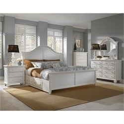 Broyhill Mirren Harbor Panel Storage Bed 5 Piece Bedroom Set in White