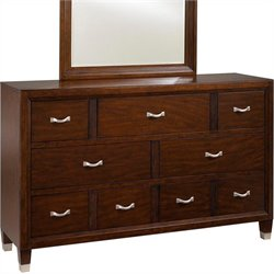 Broyhill Eastlake 7 Drawer Double Dresser in Warm Brown Cherry