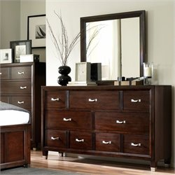 Broyhill Eastlake 7 Drawer Double Dresser and Mirror Set in Cherry
