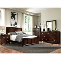 Broyhill Eastlake 2 Panel Bed 5 Piece Bedroom Set in Warm Brown Cherry