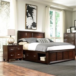 Broyhill Eastlake 2 Single Storage Bedroom Set in Brown Cherry
