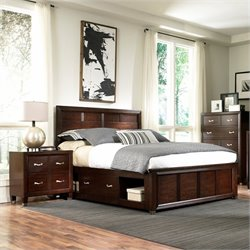 Broyhill Eastlake 2 Double Storage 3 Piece Bedroom Set in Brown Cherry