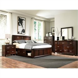 Broyhill Eastlake 2 Double Storage 5 Piece Bedroom Set in Brown Cherry