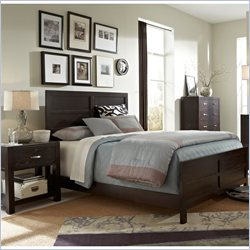 Broyhill Primo Vista Panel Bed 3 Piece Bedroom Set in Black Stain
