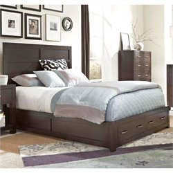Broyhill Primo Vista Panel Bed w/ Storage Footboard in Black Stain - Queen