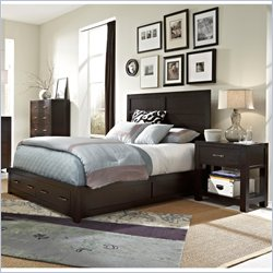 Broyhill Primo Vista Panel Storage Bed 3 Pc Bedroom Set in Black Stain