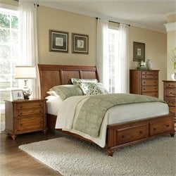 Broyhill Hayden Place Sleigh Storage Bed in Warm Golden Oak - Queen