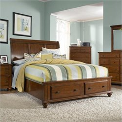 Broyhill Hayden Place Sleigh Storage Bed in Light Cherry - Queen