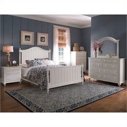 Broyhill Hayden Place Panel Bed 5 Piece Bedroom Set in White