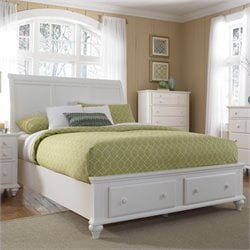 Broyhill Hayden Place Sleigh Storage Bed in White - Queen