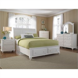 Broyhill Hayden Place Panel Storage Bed 5 Pc Bedroom Set in White