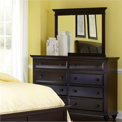 Broyhill Farnsworth 8 Drawer Dresser w/ Mirror Set in Inky Black Stain
