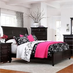 Broyhill Farnsworth Sleigh Bed in Inky Black Stain